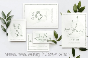 Natural Floral Wedding Invitation Suite