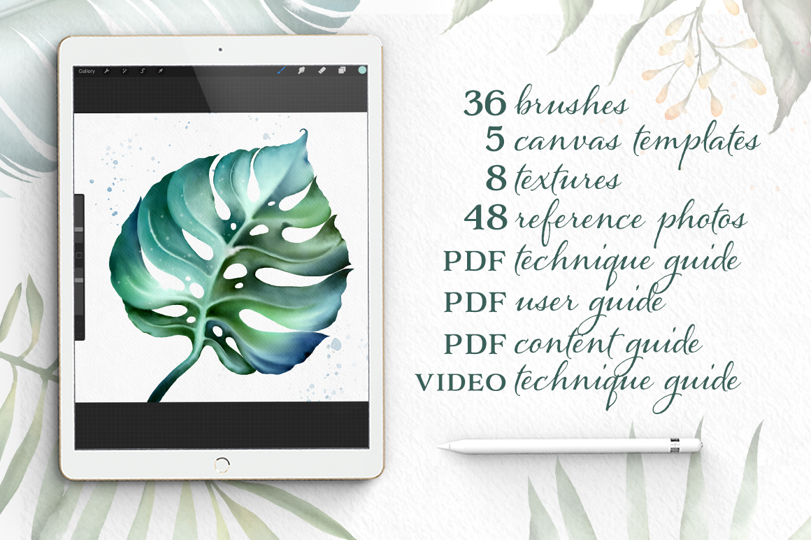 Procreate Watercolor Botanical Kit