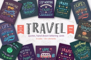 Travel Hand Drawn Color Lettering Quotes
