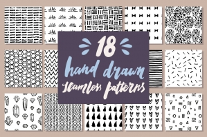 18 Hand Drawn Seamless Patterns