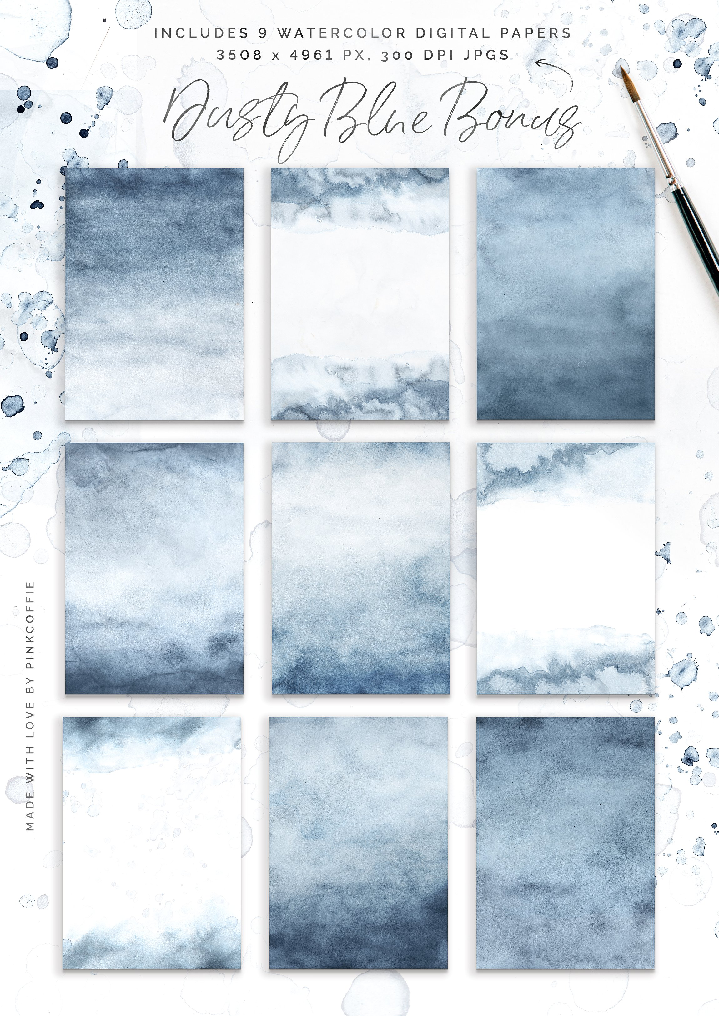 Dusty Blue Watercolor Texture Collection