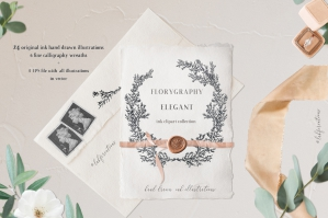 Elegant Calligraphy Ink Wreaths