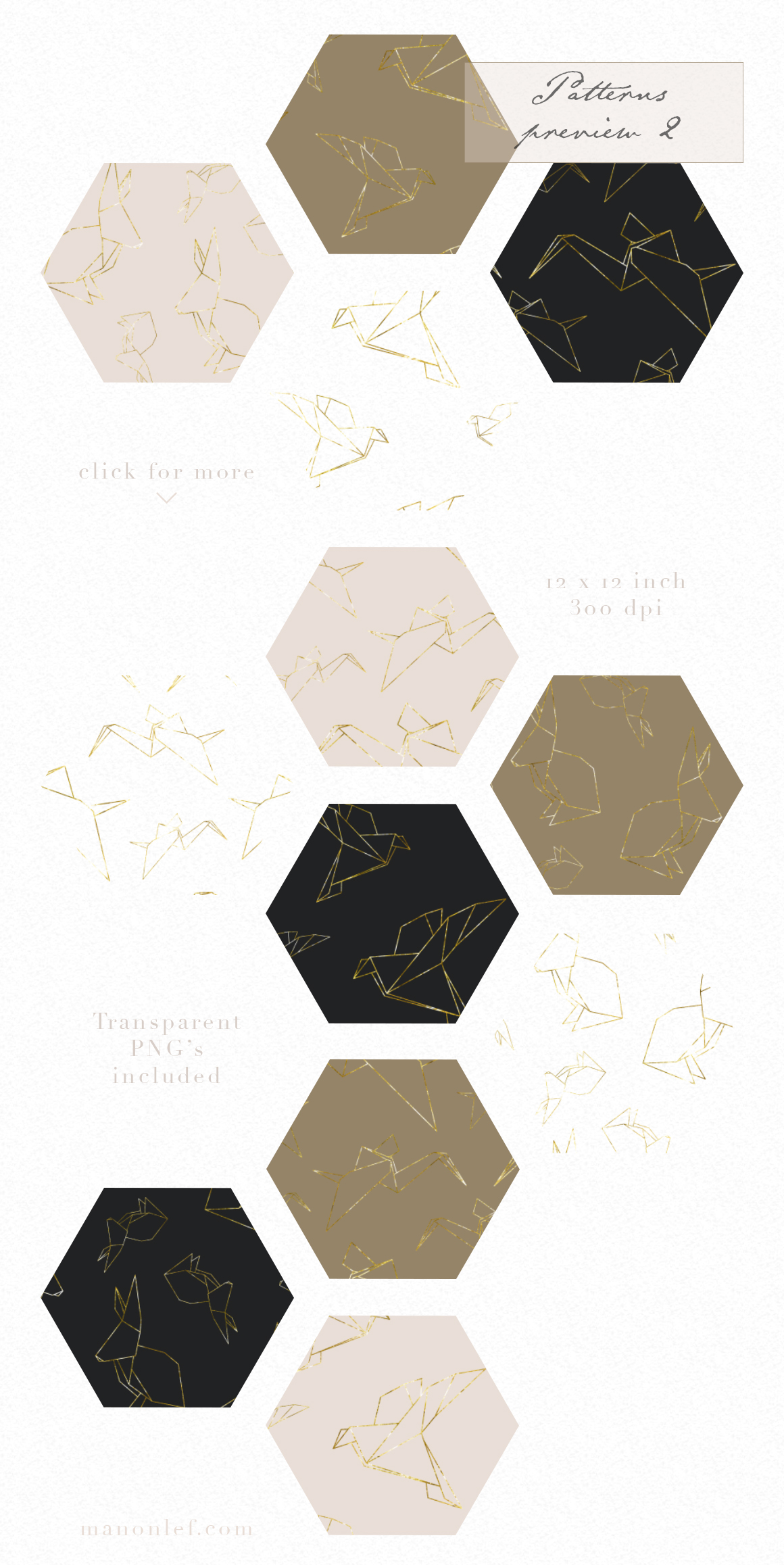 Gold Origami Patterns and Graphics