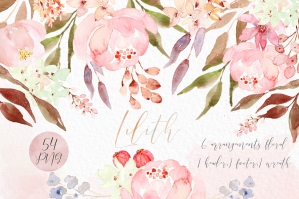 Lilith Pink Watercolour Flowers Clipart