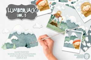 Lumberjack Mountains Watercolor Illustrations Kit