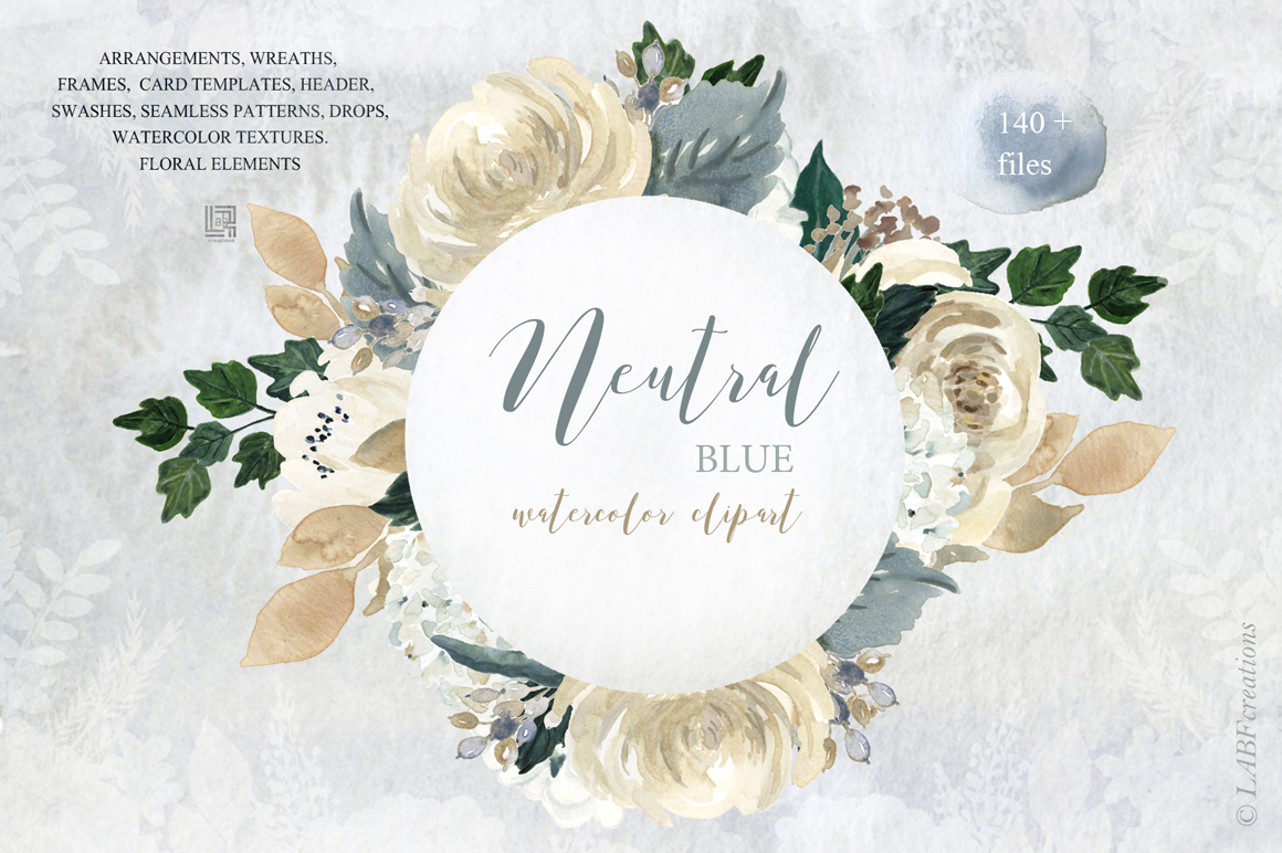 Neutral Flowers Watercolor Clipart
