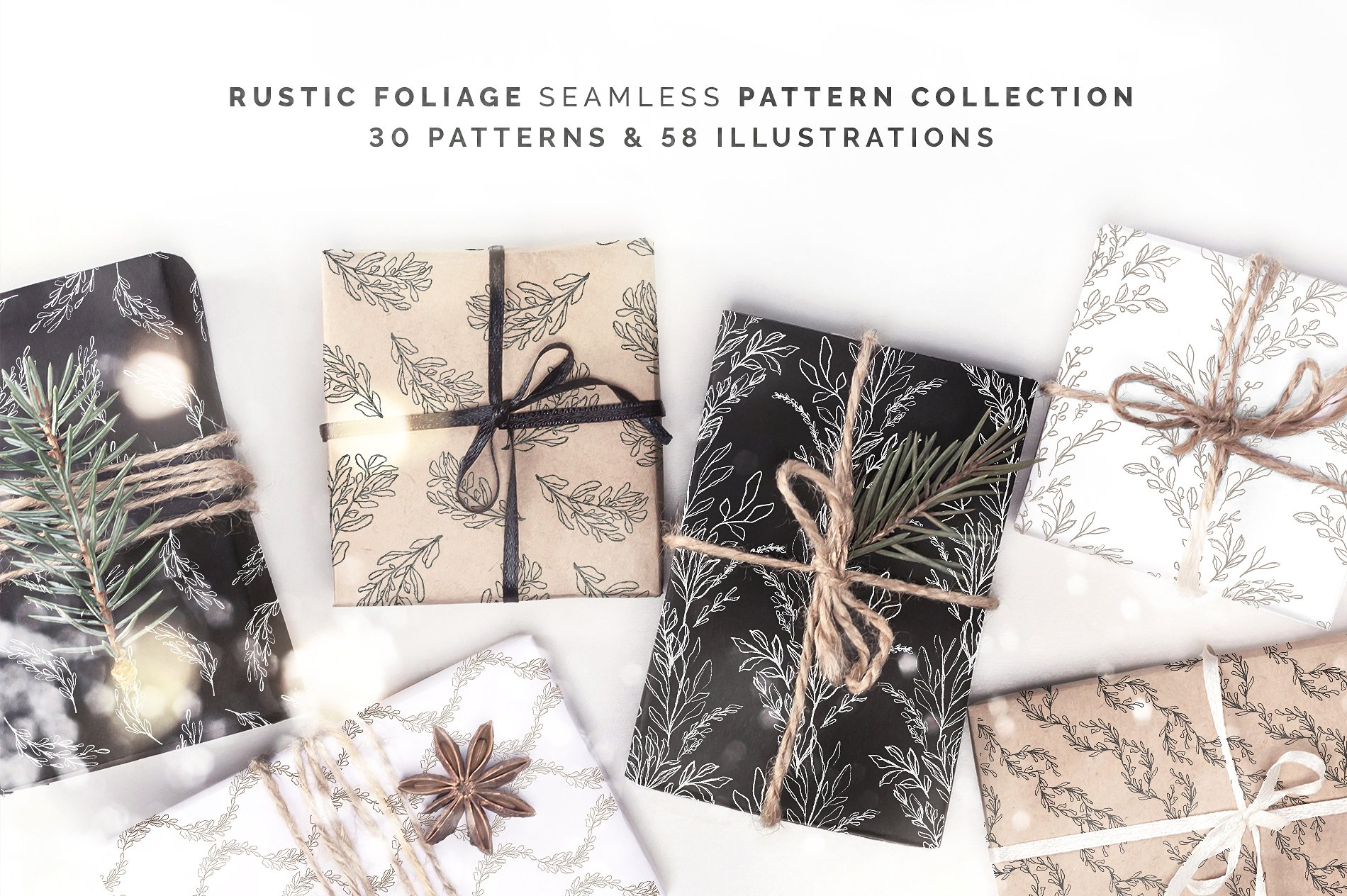 Rustic Pattern Collection and 58 Illustrations