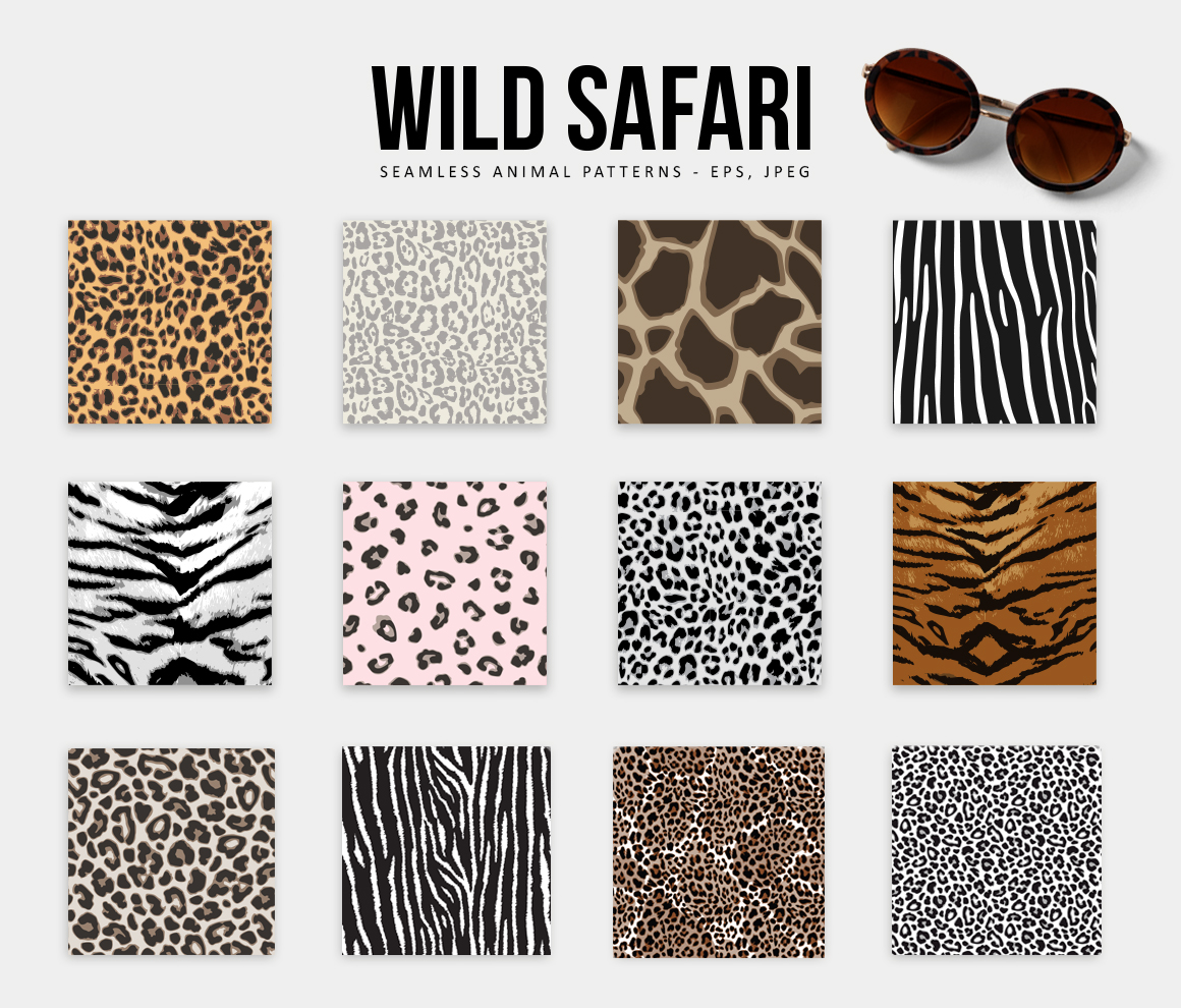 Wild Safari Animal & Leopard Patterns Set