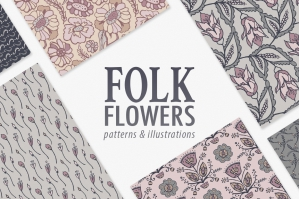 Folk Floral Patterns & Illustrations
