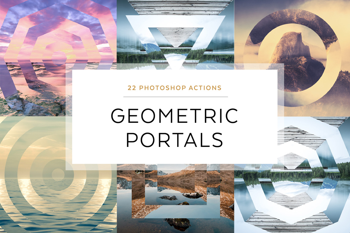 Geometric Portals Photoshop Actions