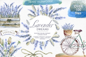 Lavender Watercolor Clipart Set