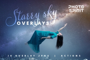 Night Sky Starry Overlay Effects and PS Actions