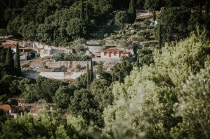 Old Greek Village Surrounded In Fresh Green Trees In Zakynthos Island