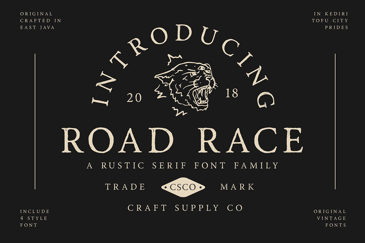 Road Race Font Family and Extras