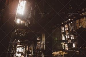 Sunlight Shining Through Old Rusty Steelworks