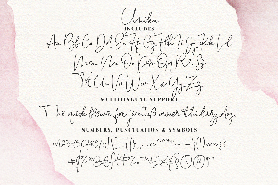 Unika Signature Font and Texture Pack