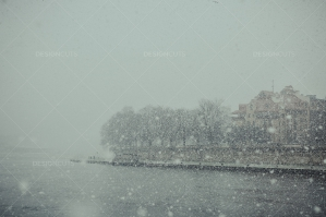 Waterfront Of Vistula River During Snowstorm