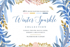 Winter Sparkle - Floral Clip Art Collection