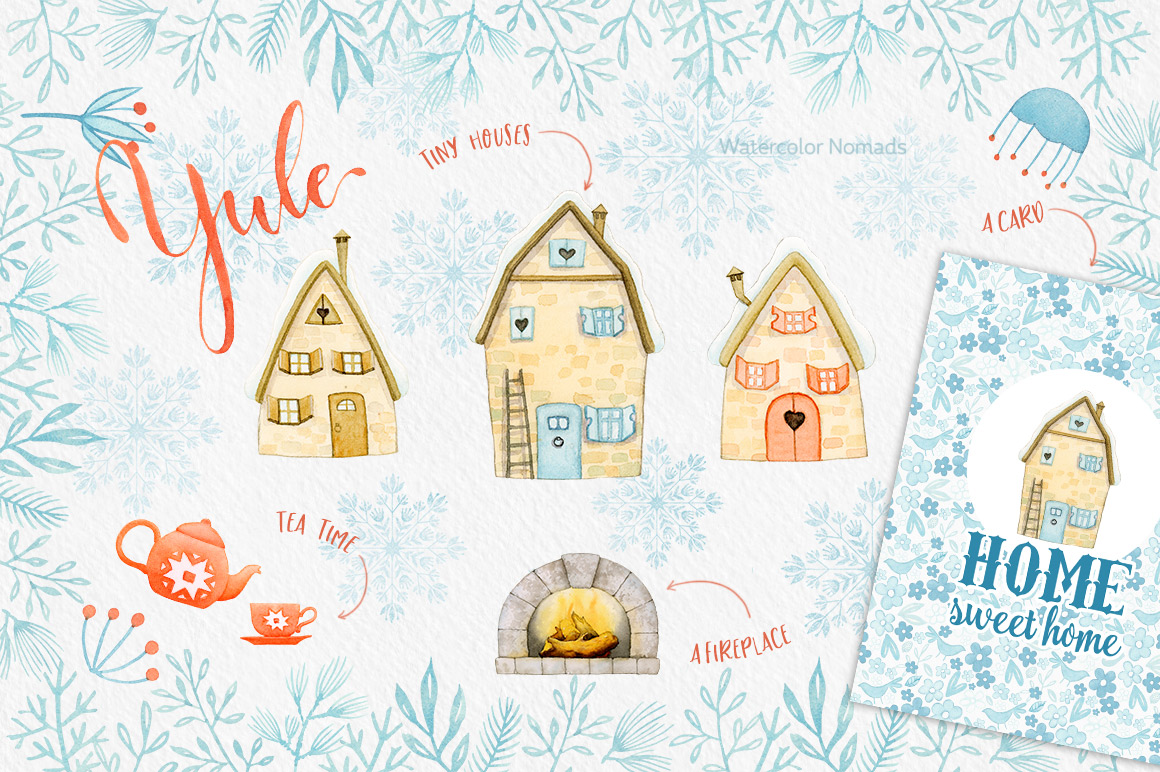 Yuletide - Nordic Christmas Watercolor Collection