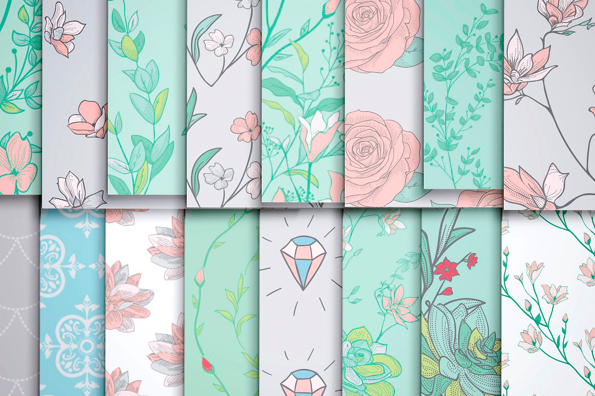 31 Drawn Floral Patterns Pack