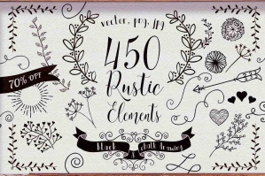 450 Rustic Hand Drawn Design Elements