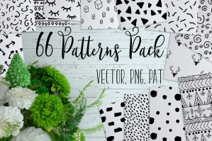 66 Cute Drawn Seamless Patterns