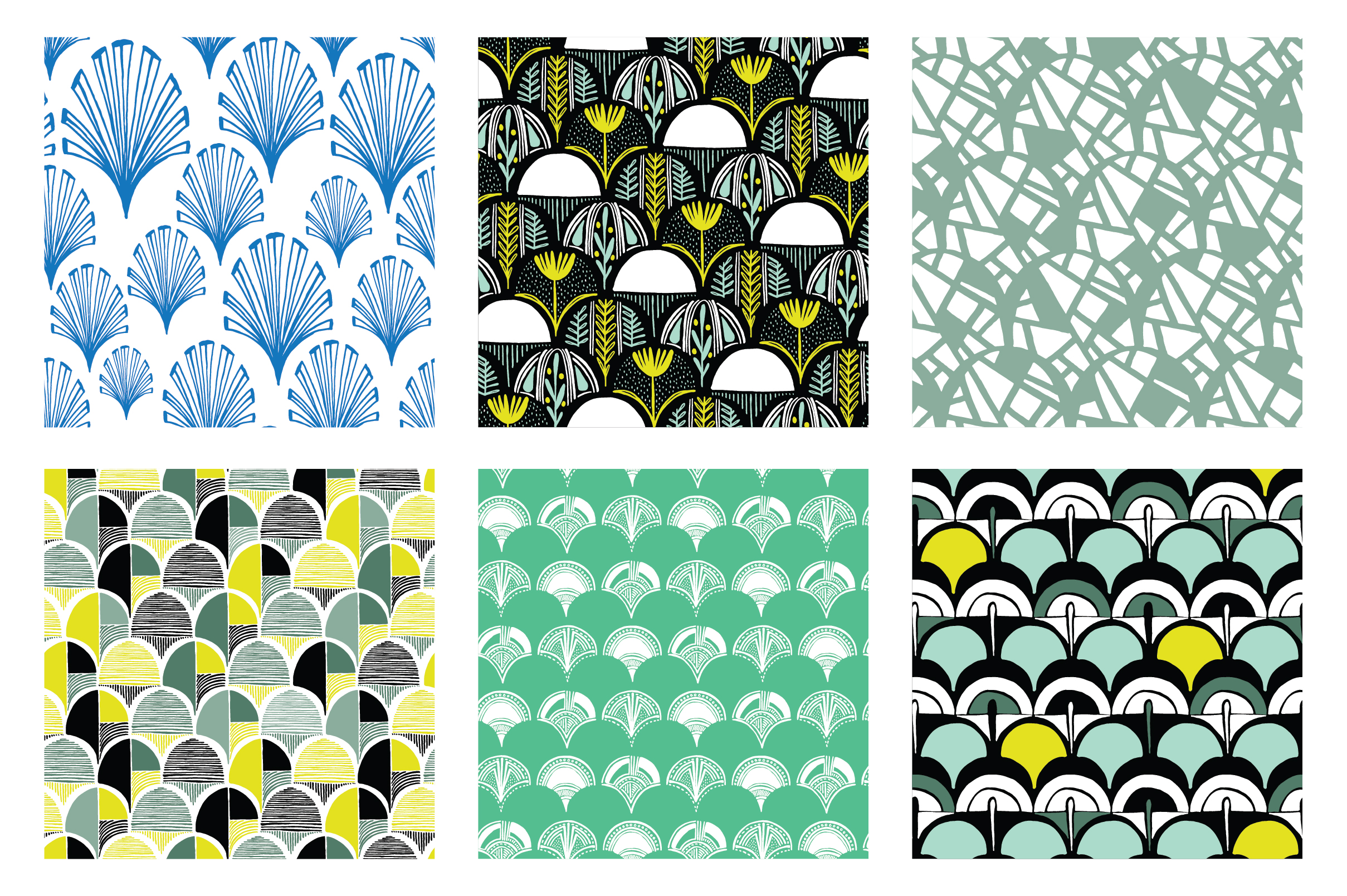 Hand-Drawn Scales Seamless Patterns