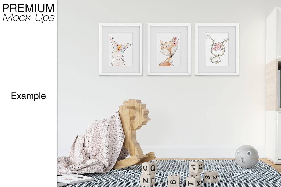 Kids Room - Wall And 90 Customizable Frames Set