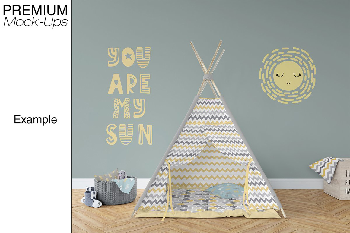 Kids Teepee Tent, Wall And Frames Set