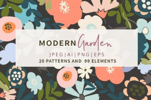 Modern Garden Flower Patterns & Artboards