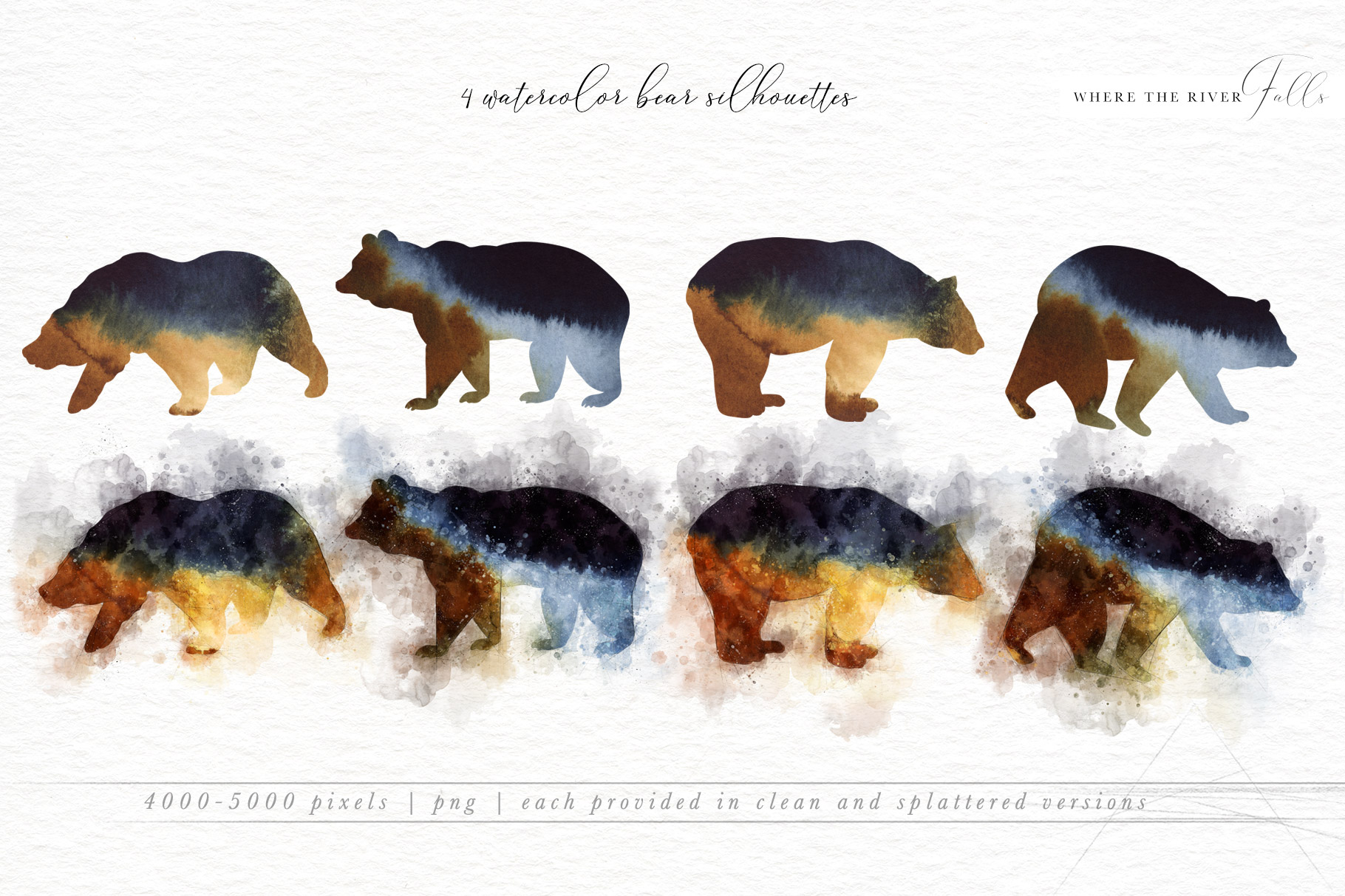 River Falls Forest Watercolor Collection