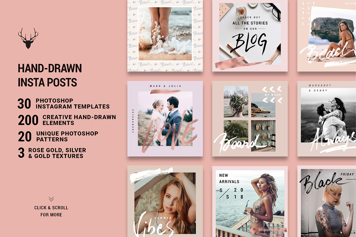 Rose Gold Hand-Drawn Instagram Post Templates