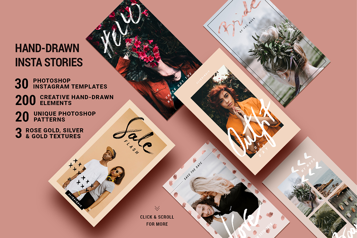 Rose Gold Hand-Drawn Instagram Story Templates