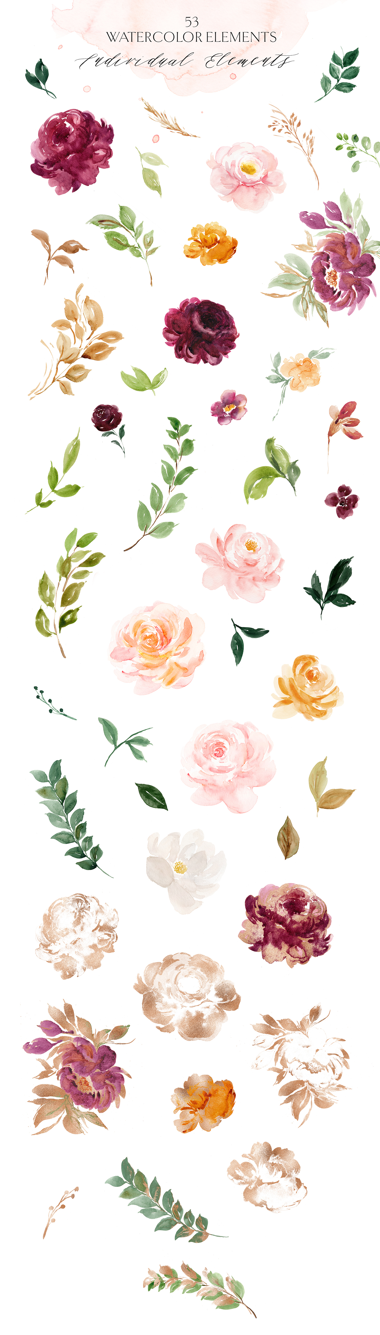 Saffron - Spiced Watercolor Floral Set