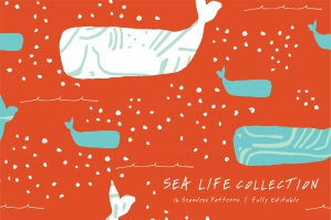 Sea Life Seamless Patterns