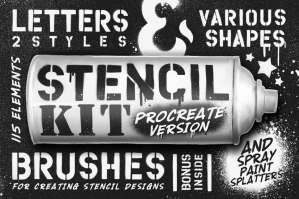 Free: Stencil Kit Procreate Brushes