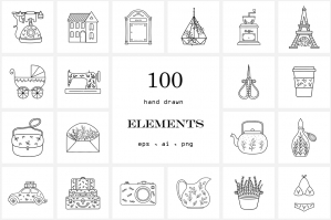 100 Hand Drawn Logo Elements