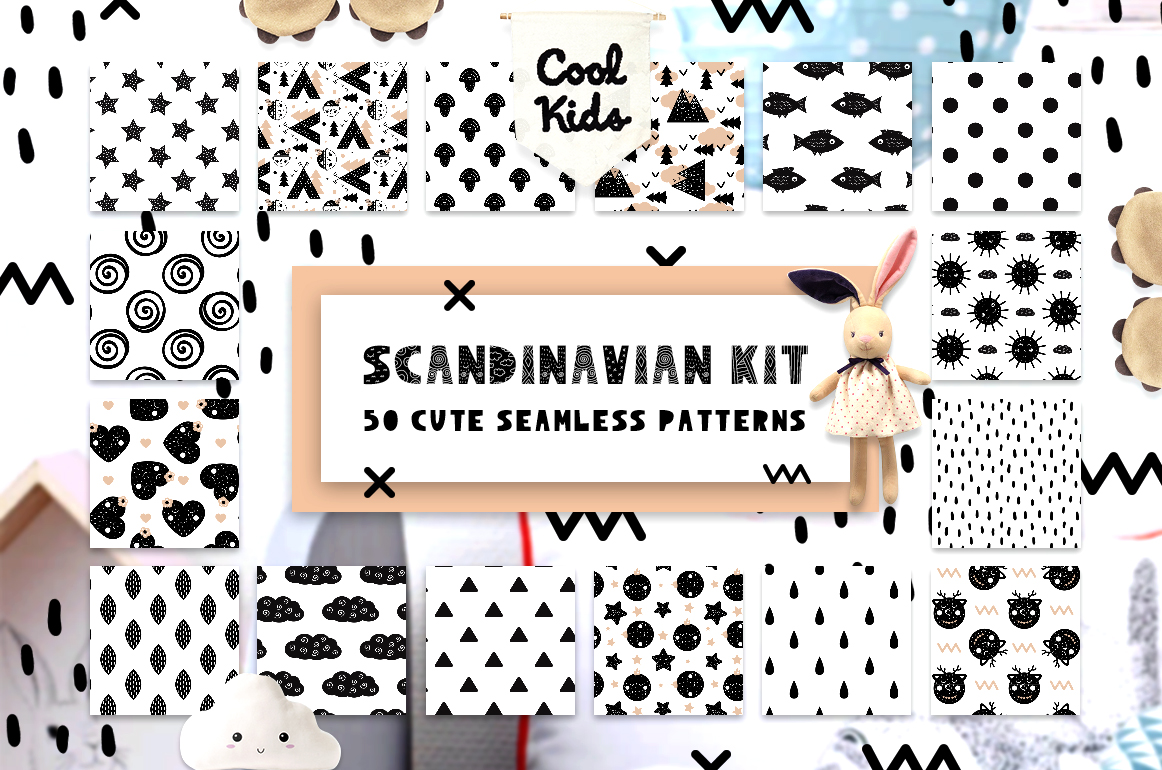 50 Scandinavian Seamless Patterns