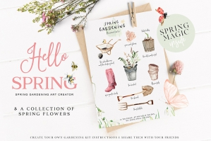 Hello Spring - Watercolor Gardening Graphics