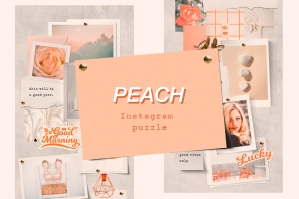 Peach Instagram Puzzle Template