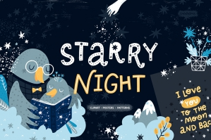 Starry Night Illustrations & Pattern