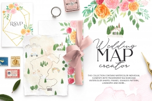 Watercolor Wedding Map Creator Kit