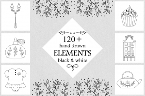 120 Hand Drawn Vector Elements - Feminine logo