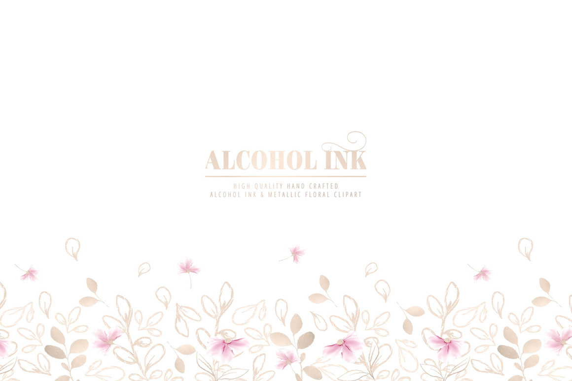 Alcohol Ink Flowers & Metallic Floral Clipart