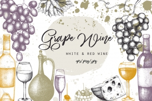 Red & White Wine Illustrations Set