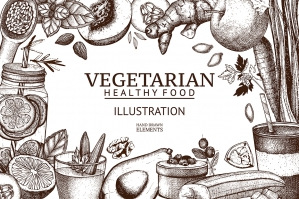 Vintage Vegetarian Food Illustrations