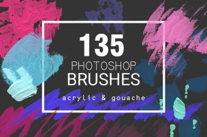 Acrylic & Gouache - 135 Photoshop Brushes