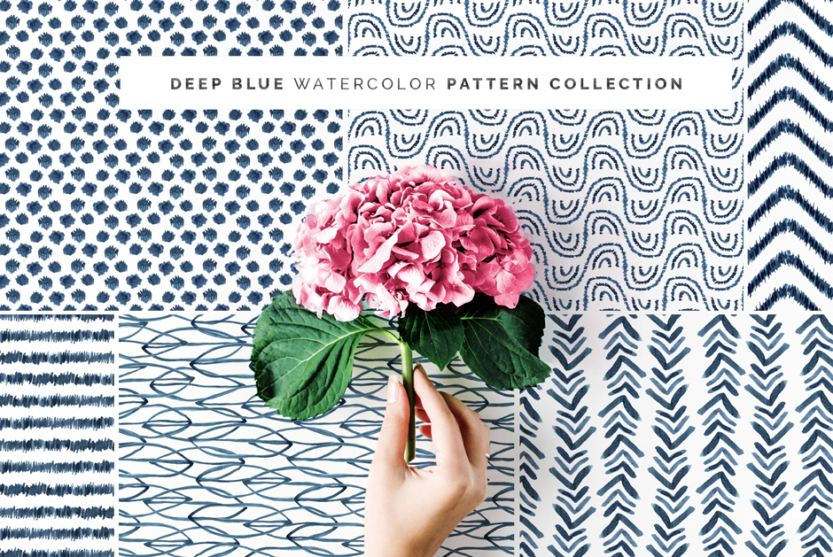 Deep Blue Seamless Pattern Collection