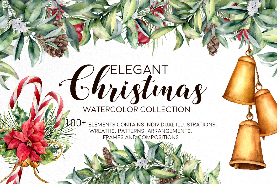 Elegant Christmas Watercolor Collection - Design Cuts