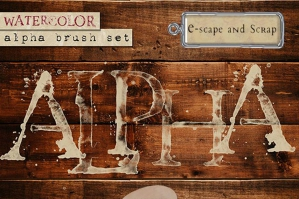 Watercolor Alphabet Brush Set